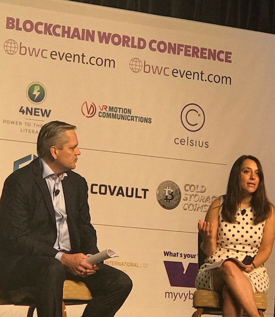 Grant Buerstetta and Michelle Gitlitz on World Blockchain Conference Panel, July 13, 2018