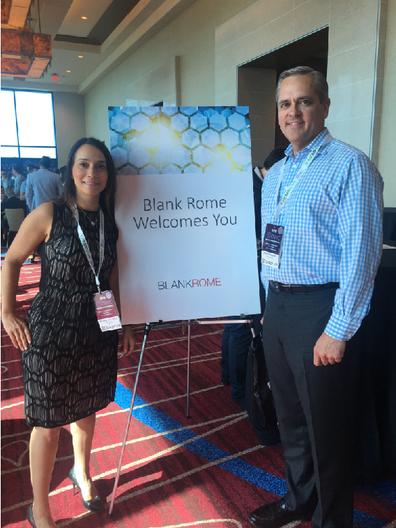Michelle Gitlitz and Grant Buerstetta at  World Blockchain Conference, July 12, 2018